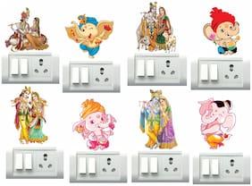 Decor Villa Radha Krishna and Ganesh ji Switch Board & Wall Sticker (PVC Vinyl,Size- 33 cm x 30 cm)