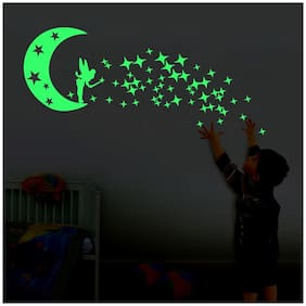 Decor Villa Glow In The Dark FAIRY STAR Radium Night Glow Wall  Sticker