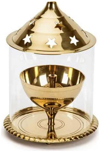 Decorate India Brass Akhand diya Medium With Molded Glass 5 inch