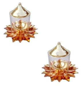 Decorate India Pure Brass and copper Kamal Medium Akhand diya 13.97 cm (5.5 Inch) set