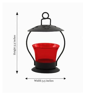 Decorate India Red color Iron T light candle holder