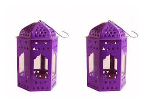 Decorate India Purple color iron lantern tlight candle holder Purple Iron;Glass Lantern (16 cm X 10 cm;Pack of 1)
