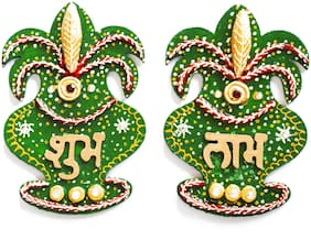 Decorative Handmade Wooden Kalash Shaped Shubh Labh Decorative Diwali Showpiece Crafted Kundan Meenakari Work Wooden Crafted Door Hangings for Diwali;Wedding Or House Warming