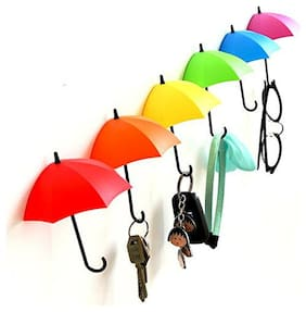 Decorative Umbrella Key holder Multipurpose Wall Hook Holder - Set of 6Pcs (Assorted Color) Sold By Evershine Gifts And Household