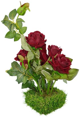 DecoreBugs Artificial Flower Real Touch and Feel Rose (40.64 cm (16 inch)) in Grass pot