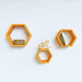 DecorNation Hexagon Shape Storage Wall Shelves-(Set Of 3 Pcs)