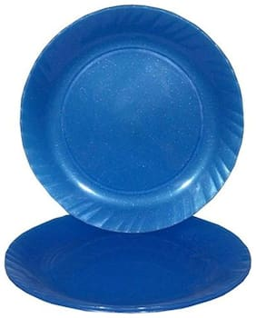 Decornt Blue Microwave Safe Unbreakable Food Grade Round Virgin Plastic 12 Inches Full Dinner Plate Set of 3