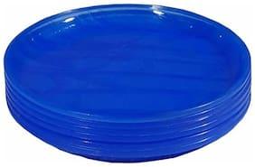 Decornt Blue Microwave Safe Unbreakable Food Grade Round Virgin Plastic 30.48 cm (12 Inch) Full Dinner Plate-Set of 6