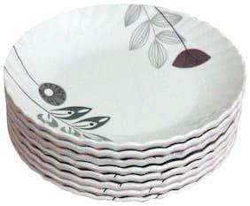 Decornt Floral Design Round Unbreakable Food Grade Round 17.78 cm (7 inch) Melamine Quarter Plate - Set of 8