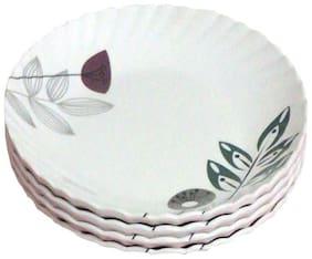 Decornt Floral Design Round Unbreakable Food Grade Round 7 inch Melamine Quarter Plate - Set of 4