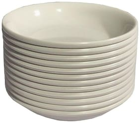 Decornt Melamine Unbreakable Food Grade Round Set of 12 Chat Dahi Bhalla Snacks Bowls - Off White