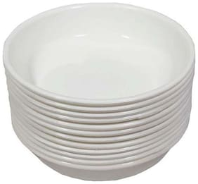 Decornt Microwave Safe Unbreakable Food Grade Round Virgin Plastic Set of 12 Chat Dahi Bhalla Snacks Bowls - White