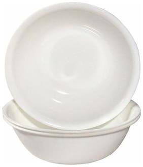 Decornt Microwave Safe Unbreakable Food Grade Round Virgin Plastic 25.4 cm (10 inch) Serving Bowls (Donga) Set of 3 - White