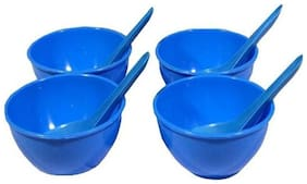 Decornt Microwave Safe Unbreakable Food Grade Round Virgin Plastic Set of 4 Soup Bowls with Spoons-Blue