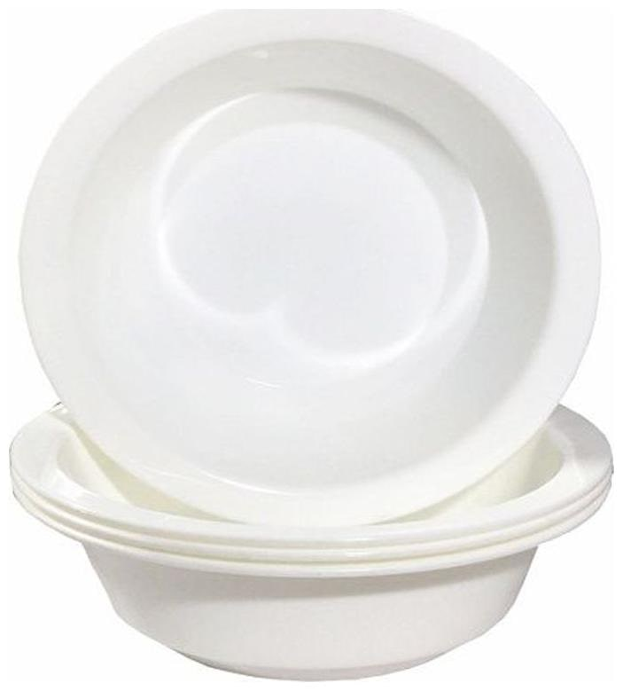 Decornt Microwave Safe Unbreakable Food Grade Round Virgin Plastic 8 inch Serving Bowls  Donga  Set of 4   White Plastic Bowl Set