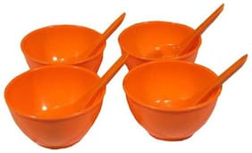 Decornt Microwave Safe Unbreakable Food Grade Round Virgin Plastic Set of 4 Soup Bowls with Spoons-Orange