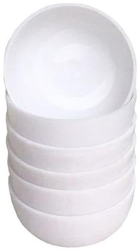 Decornt Microwave Safe Unbreakable Food Grade Round Virgin Plastic Set of 6 Veg Bowls -White