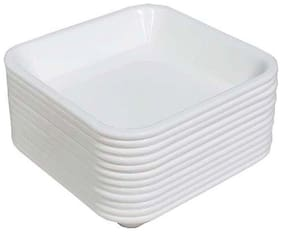 Decornt Microwave Safe Unbreakable Food Grade Square Virgin Plastic Set of 12 Chat Dahi Bhalla Snacks Bowls - White
