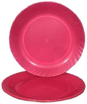 Decornt Pink Microwave Safe Unbreakable Food Grade Round Virgin Plastic 30.48 cm (12 Inch) Full Dinner Plate Set of 3