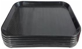Decornt Serving Platter / Large Tray; Made of Premium Plastic; Rectangular shape; Length 16 inch X Breadth 12 inch; Set of 6; Black Color.