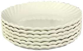 Decornt Unbreakable Food Grade Round Melamine 17.78 cm (7 Inch) Quarter Plate Off White - Set of 6