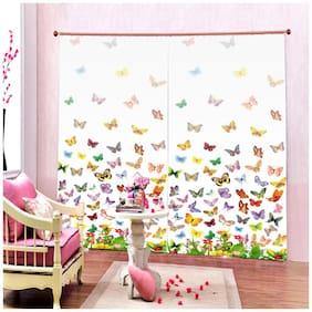 DECOROLOGY Polyester Window Semi Transparent Multi Room Darkening Curtain ( Eyelet Closure , Printed , Pack of 2 )