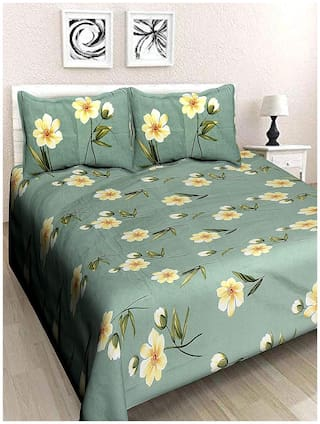 DECOROLOGY Cotton Floral Double Size Bedsheet 400 TC ( 1 Bedsheet With 2 Pillow Covers , Green )