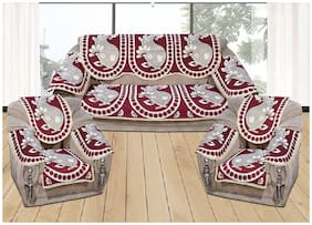 Decorology Chenille Poly Cotton 5 Seater Sofa Cover For Living Room