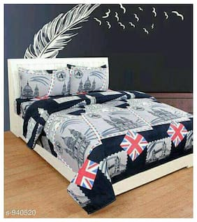 DECOROLOGY Cotton 3D Printed Queen Size Bedsheet 144 TC ( 1 Bedsheet With 2 Pillow Covers , Multi )