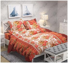 DECOROLOGY Cotton 3D Printed Queen Size Bedsheet 104 TC ( 1 Bedsheet With 2 Pillow Covers , Multi )