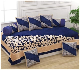 DECOROLOGY Chenille Abstract Single Size Diwan Sets - Pack of 8