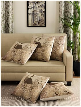Decorology Jute Cushion Cover 16X16 Set Of 5 With Digital Print In Multi Color