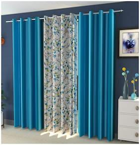 DECOROLOGY Polyester Long Door Semi Transparent Aqua Room Darkening Curtain ( Eyelet Closure , Floral , Pack of 3 )