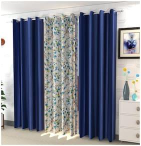 DECOROLOGY Polyester Long Door Semi Transparent Blue Room Darkening Curtain ( Eyelet Closure , Floral , Pack of 3 )