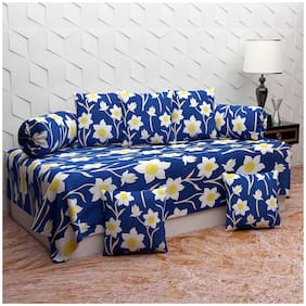 DECOROLOGY Cotton Floral Single Size Diwan Sets - Pack of 8