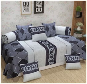 DECOROLOGY Cotton Abstract Single Size Diwan Sets - Pack of 8