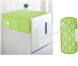 DECOTREE Combo Set of Cotton Fridge Top Cover with 6 Pockets and Cotton Fridge Handle Cover (Green, 2 pcs Set)