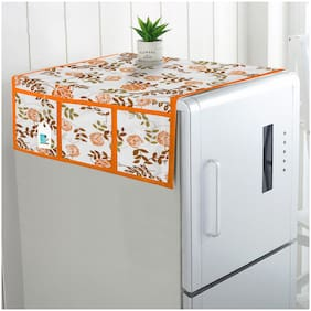 DECOTREE Cotton Fridge Top Cover with 6 Utility Pockets- (Size : 21X39 inch, Orange)