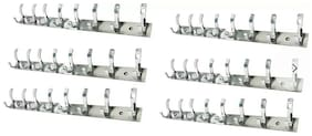 DEEPLAX HOOKS RAIL SET OF 6 STAINLESS STEELS PREMIUM FESCUE ROLLY 8 HOOKS CLOTHES HANGER BATHROOMS WALL DOOR HOOKS FOR HANGING KEYS CLOTHES 8 PRONGED HOOK RAIL