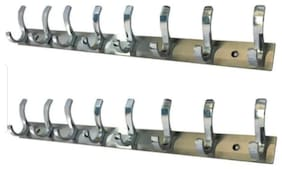 DEEPLAX HOOKS RAIL SET OF 2 STAINLESS STEELS PREMIUM FESCUE DUAL EDGE 8 HOOKS CLOTHES HANGER BATHROOMS WALL DOOR HOOKS FOR HANGING KEYS CLOTHES 8 PRONGED HOOK RAIL