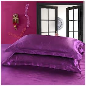 DEHMAN Silk Plain Pillow Covers ( Pack of 2 , Purple )