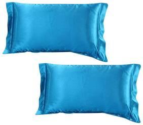 Dehman 2xSilky Soft Satin Standard Pillow Cushion Cover Pillowcase Bed Decor-Blue