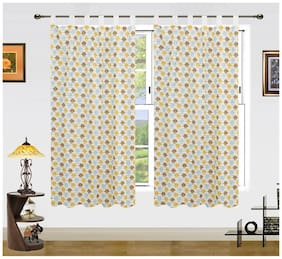 DEKOR WORLD Owl Printed Cotton Multi Color Window Curtain Set (Pack of 2 )