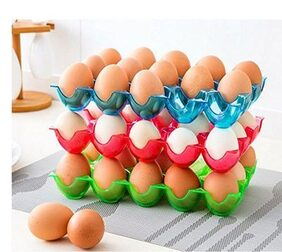 Delight Chef 15 Grids Egg Storage Container Box Case / Crate Container Holder Box Can be Stacked Eggs Preservation Box Plastic Shatter-proof Egg Tray, 3 Pcs Set