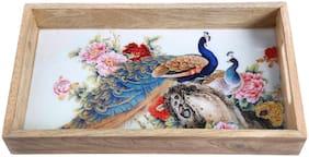 Dennmarks Decorative Kitchen Organizer With Peacock Pattern Enamel Work Wooden Serving Breakfast Tray