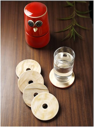 Dennmarks Wooden Hand-Painted Coffee Tea Coasters Set-Kitchen Decorative Table Top Wooden Coaster Set
