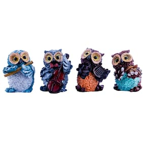 Dequera  > Owls Playing Musical Instruments Showpiece Set of 4 Figurines Garden Statues Decoration Items for Home Outdoor Decorations (Multi-4)