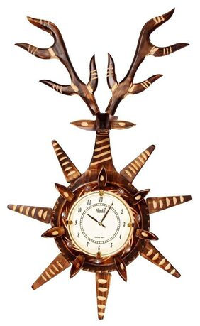 Desi Karigar Brown Wooden Wall Clock