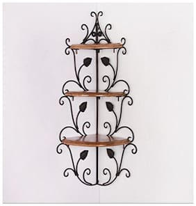 Desi Karigar Wall Mounted Wooden corner rack home d cor carved furniture shelves Size (LxBxH-13x13x30) Inch