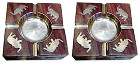 Desi Karigar Wooden Premium Quality Antique Ashtray With Brass Elephent Design, Pack Of 2
